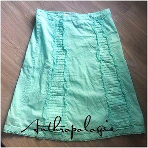 Anthropologie Odille ruffled sea foam skirt 2